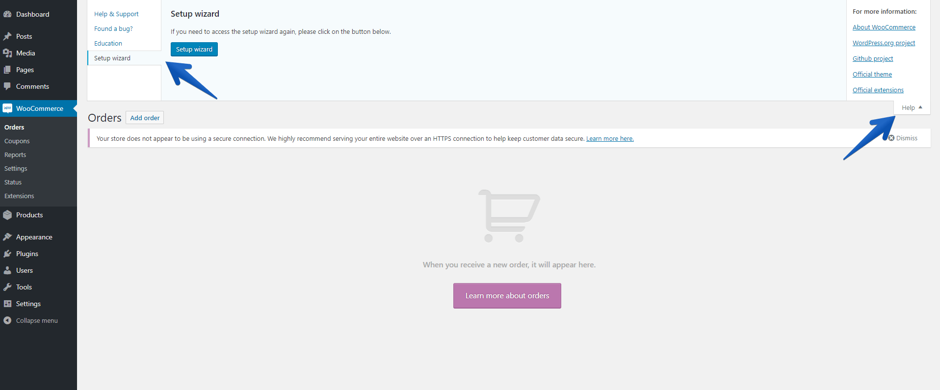How to find the WooCommerce Setup Wizard