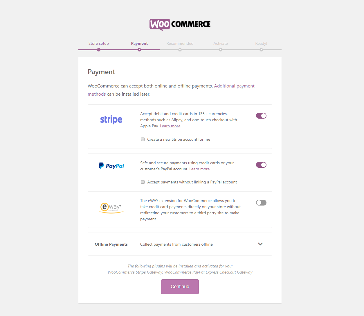 Set up Payment gateways using the WooCommerce Wizard
