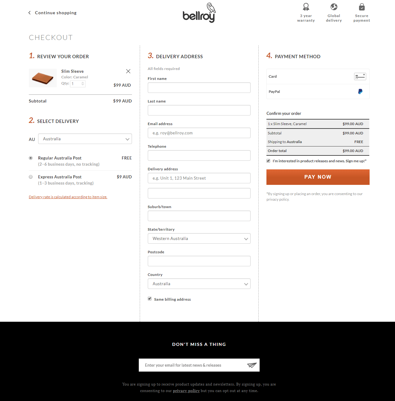 Bellroy Single Screen Checkout Example