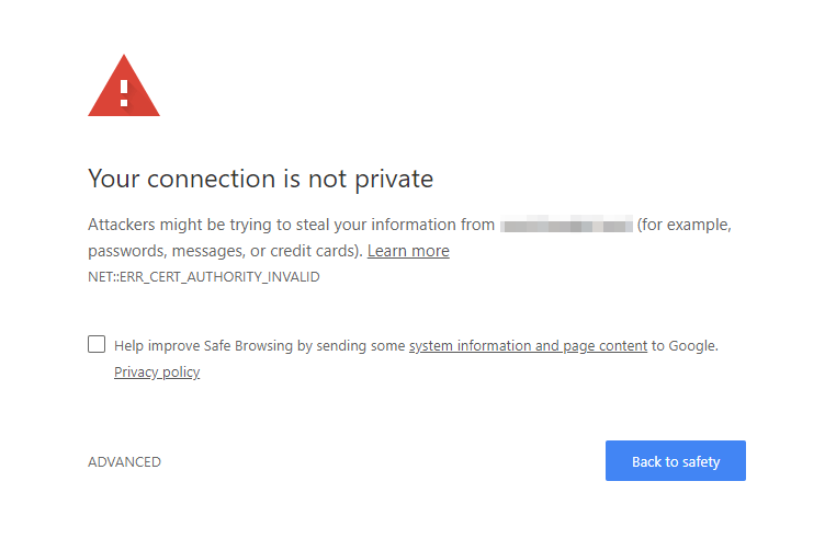 Chrome Connection Not Private