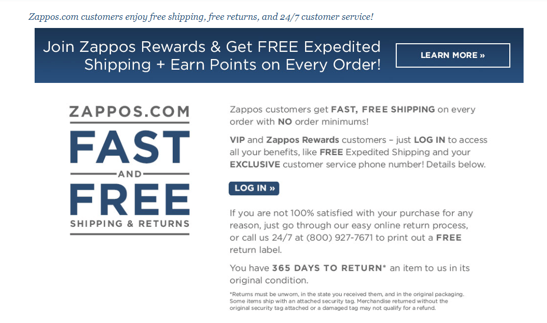 Zappos Shipping and Returns Policy Example