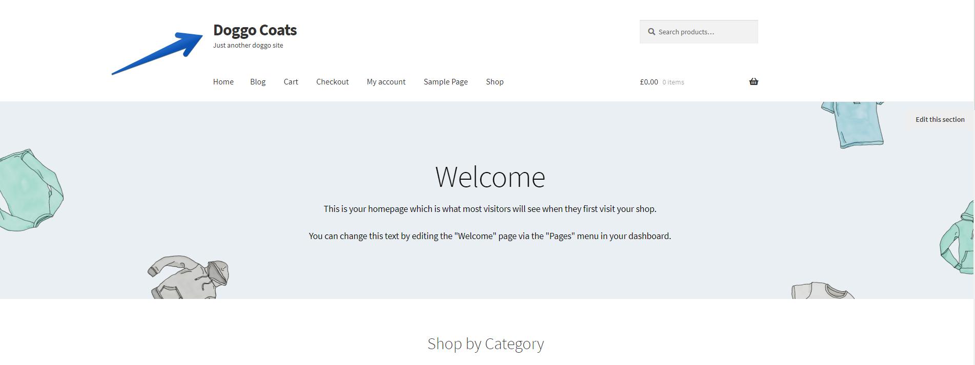 Storefront Shop Title and Tagline