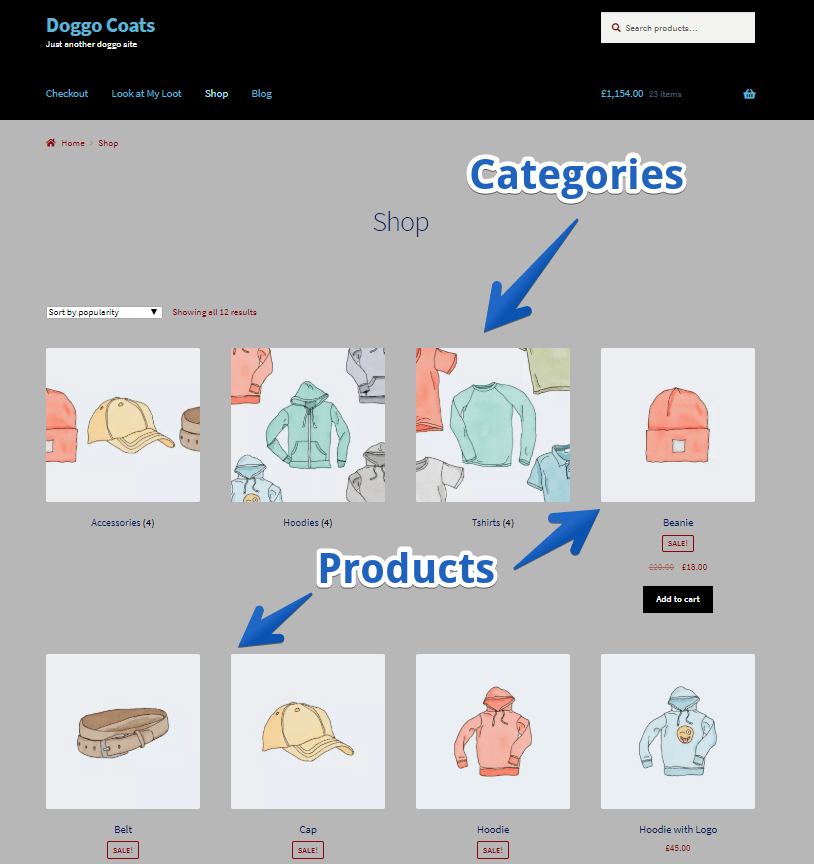 WordPress Shop Page Categories Show Before Products