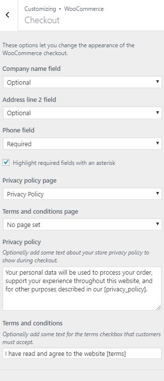 WordPress Customizer Checkout Settings