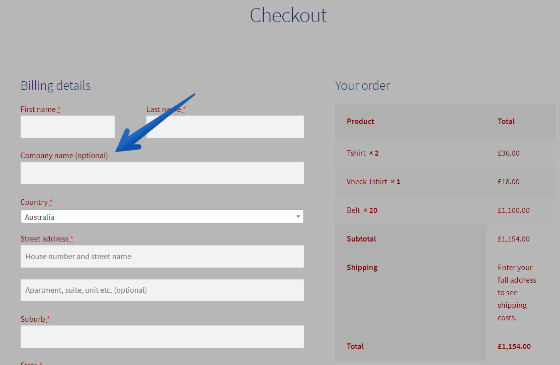 WordPress Customizer Company Name Field For Checkout