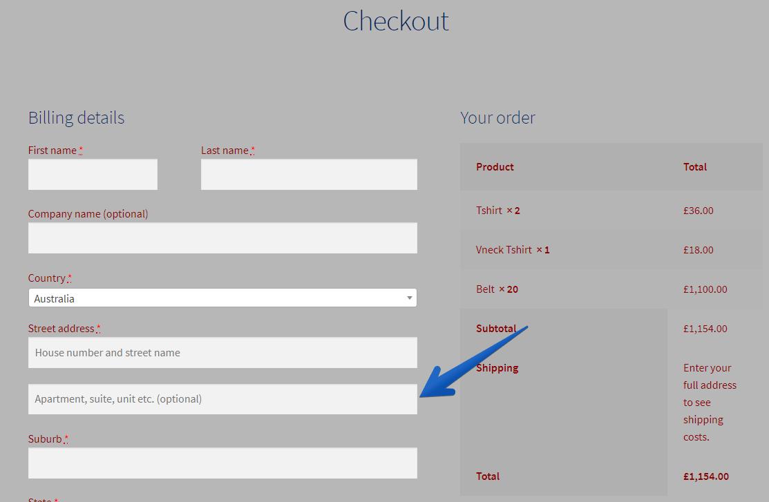 WordPress Customizer Checkout Page Customer Address Field