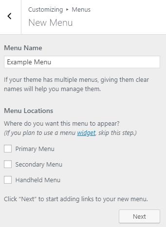 WordPress Customizer Create a New Menu