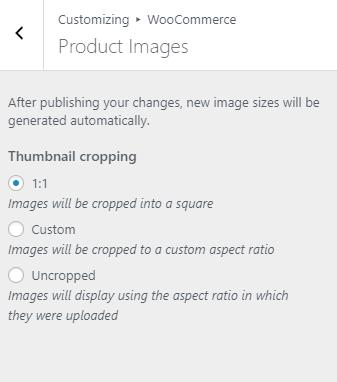 WordPress Customizer Product Image Size Settings