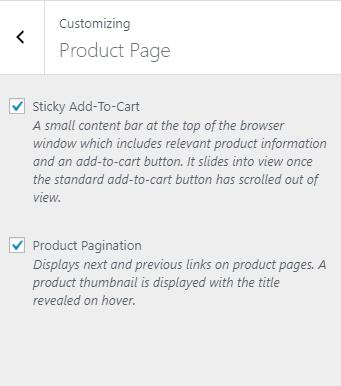WordPress Customizer Product Page Settings