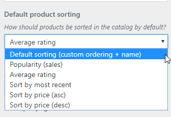 WordPress Customizer Shop Page Product Sorting Options