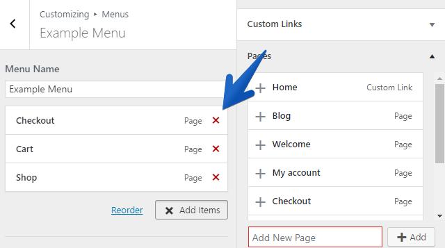 WordPress Customizer How to Delete Menu Items