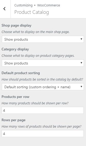 WordPress Product Catalog Settings