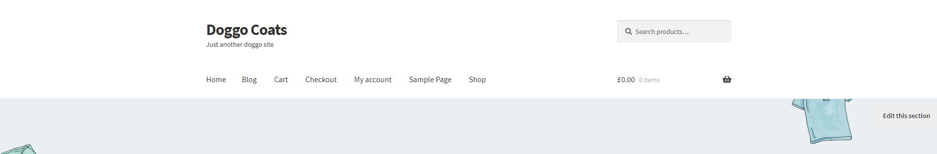 WordPress Basic Site Header in the Storefront Theme