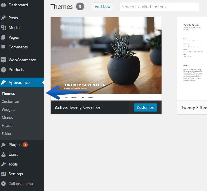 WordPress Themes Menu