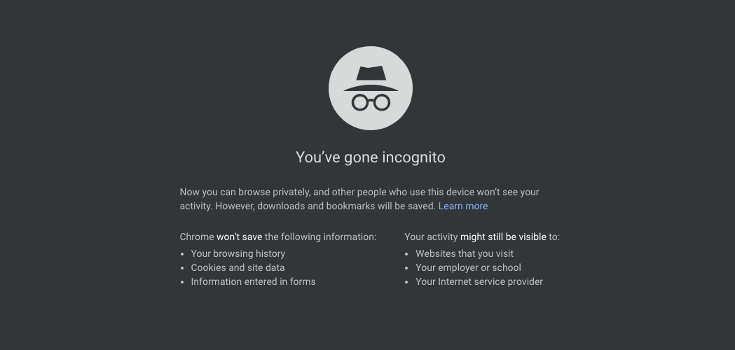 Incognito window Google Chrome