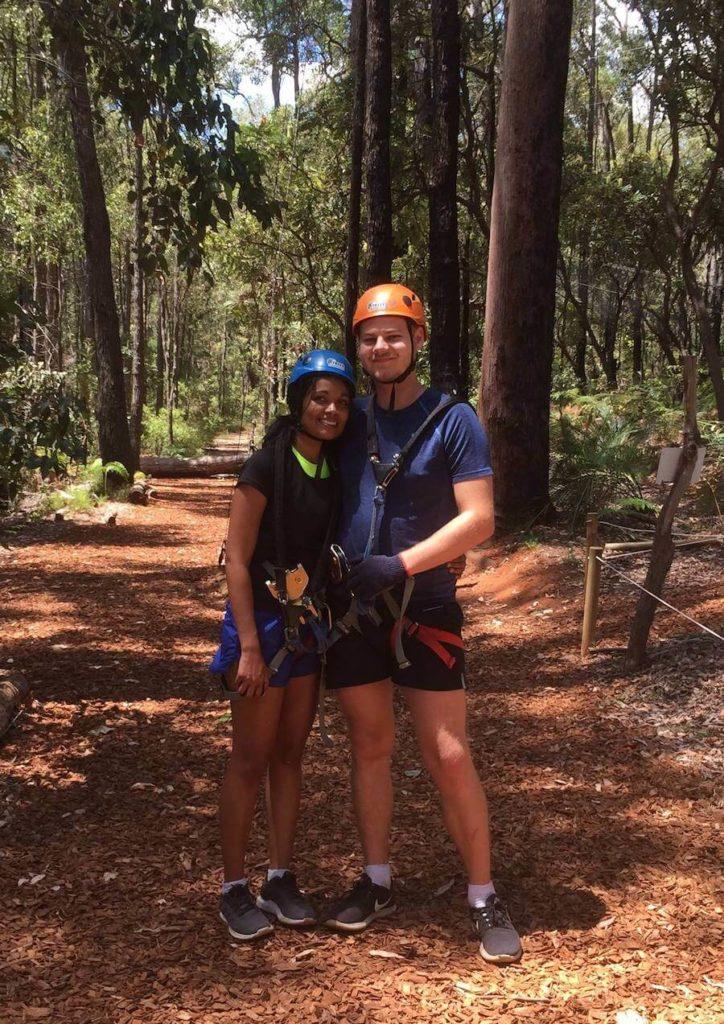 Morgan and Lari climbing trees