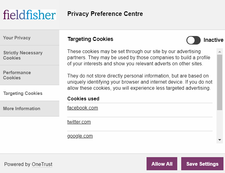 Description of third-party cookies used on Fieldfisher using One Trust