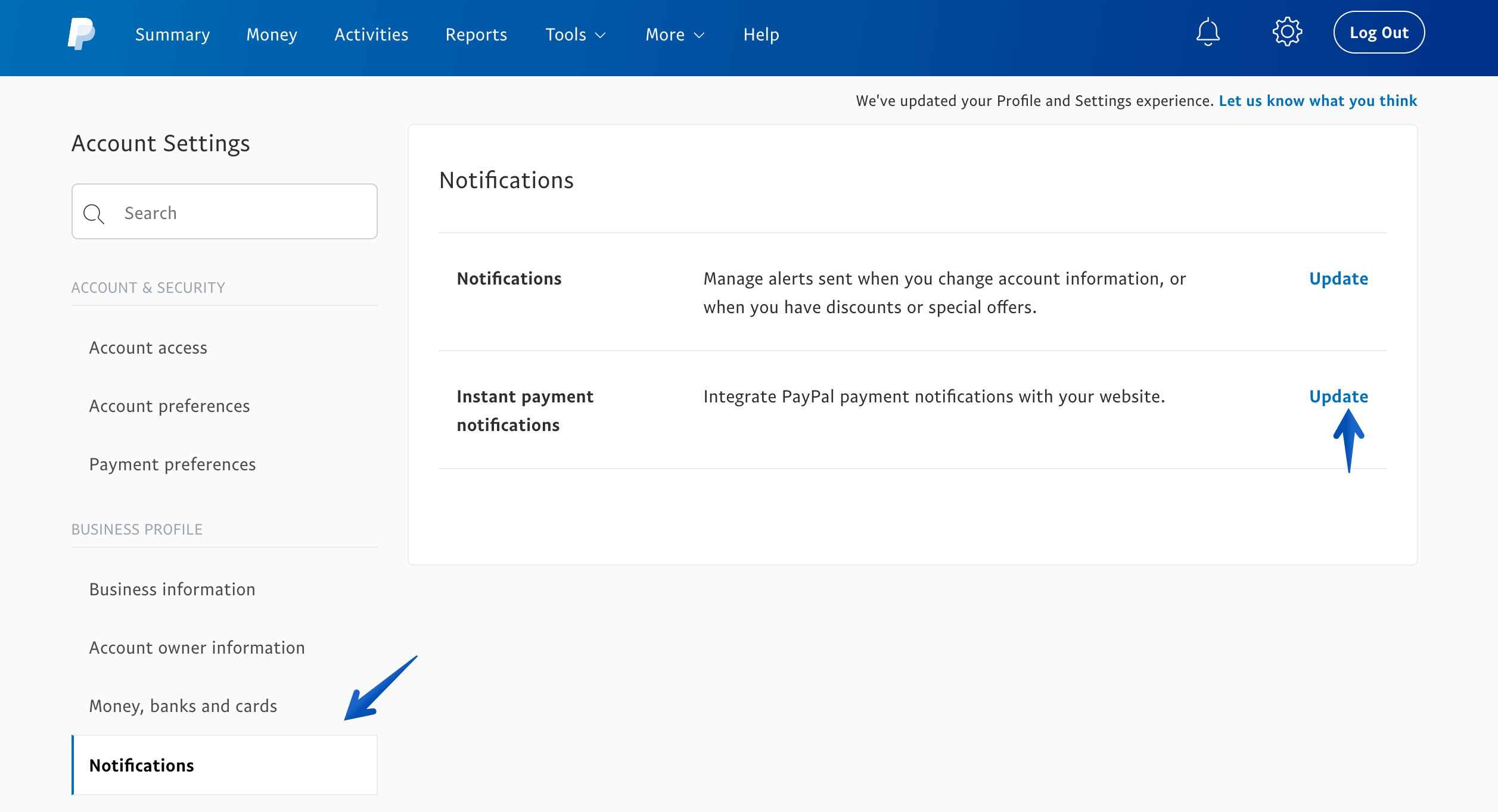 PayPal Business Tools settings