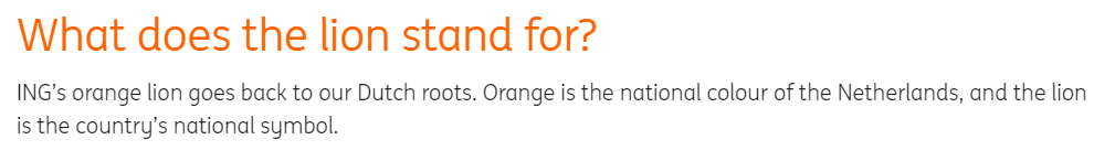 Quote from ING Bank's website explaining their logo and color choice.