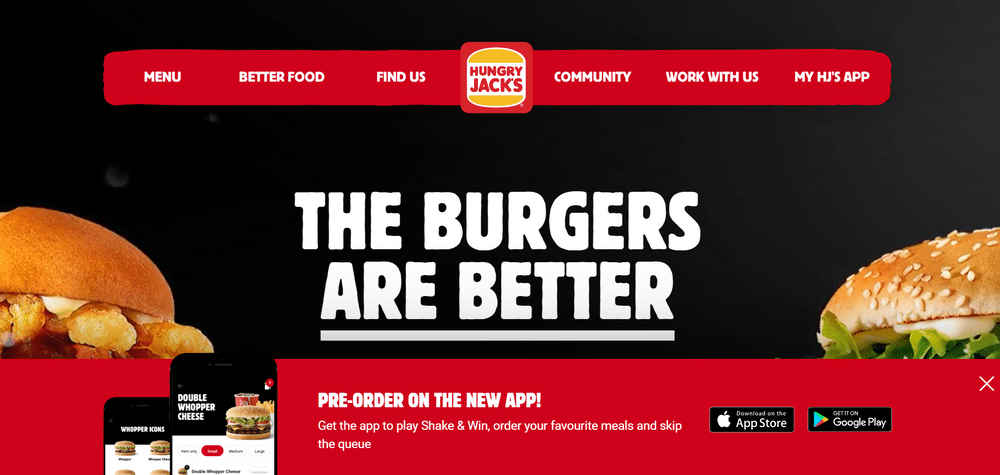 Hungry Jacks Australia Website