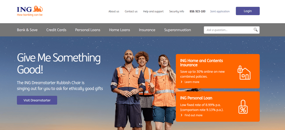 ING Bank's website uses orange