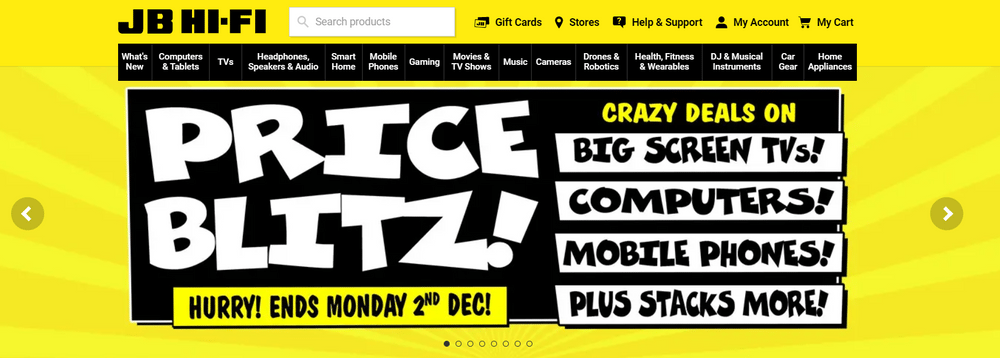 JB Hi-Fi's website uses yellow to signify affordability