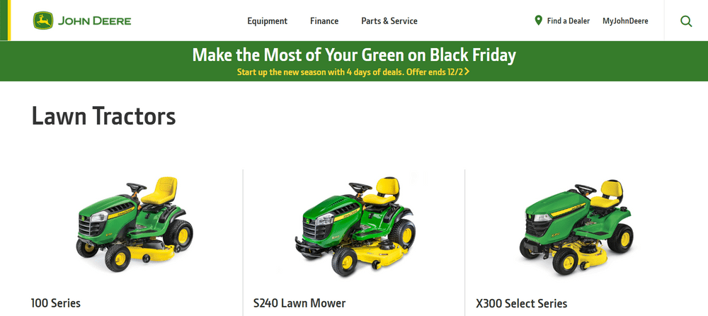 John Deere uses green for their logo, website, and products.