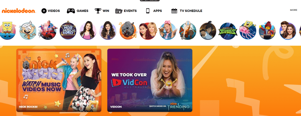 Nickelodeon's website