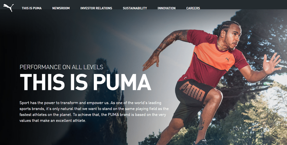 Puma's site design leans heavily on black and white