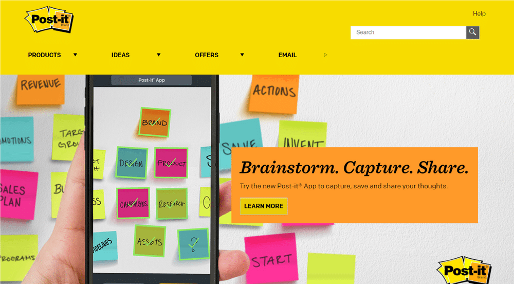 Post-it Notes website uses yellow to appear creative