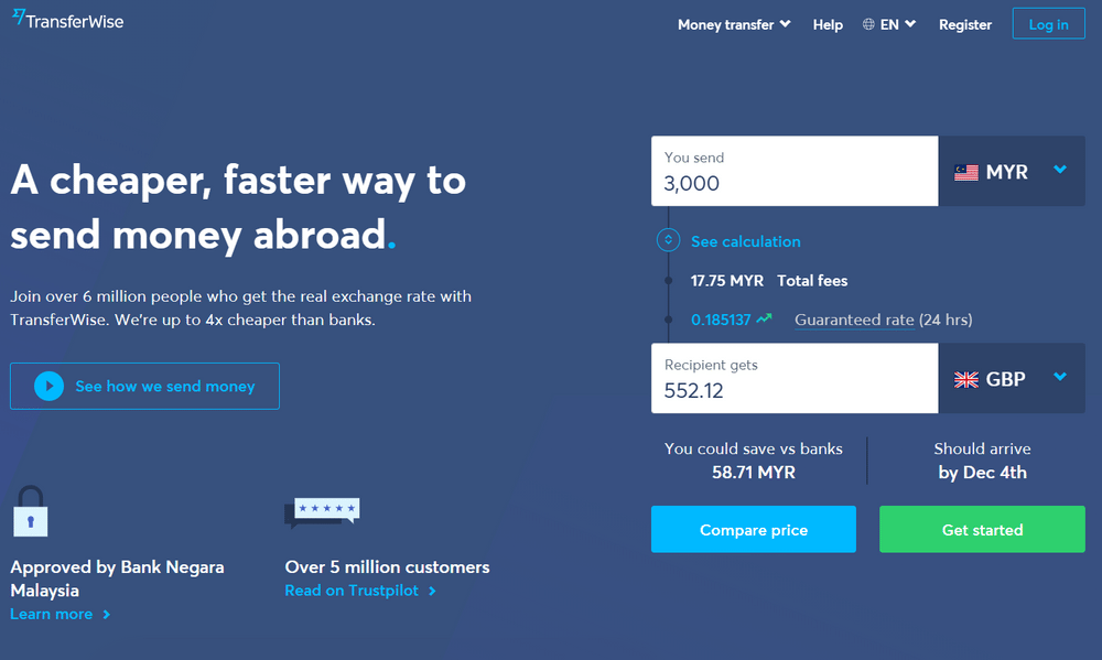 Transferwise uses a lot of blue on their site
