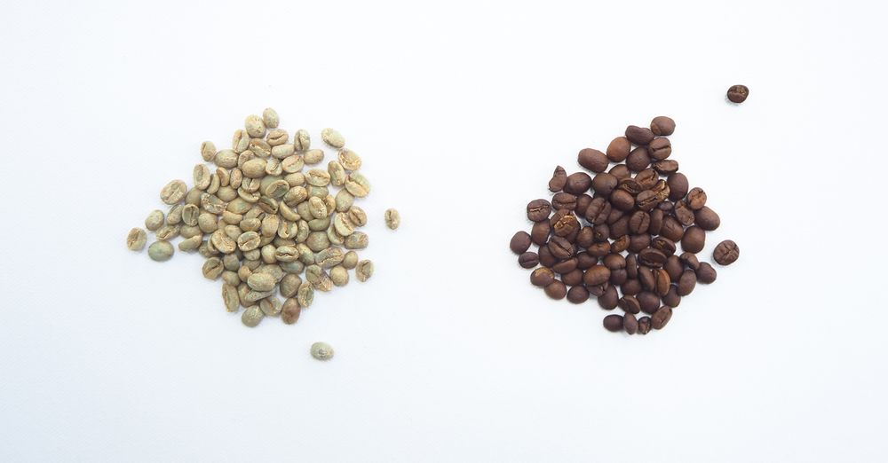 white coffee beans next to brown coffee beans to show A/B testing