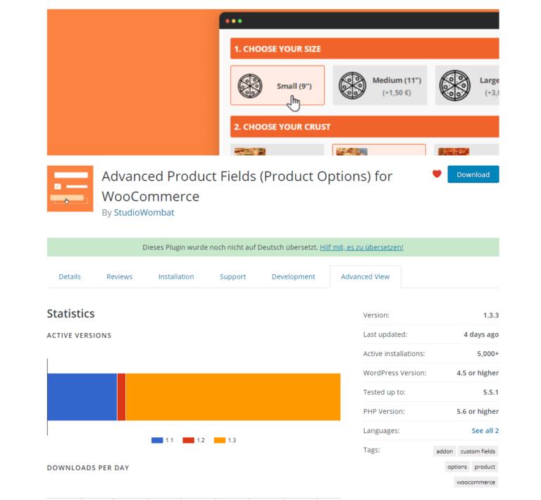 Screenshot of Advanced Product Fields plugin on WordPress.org