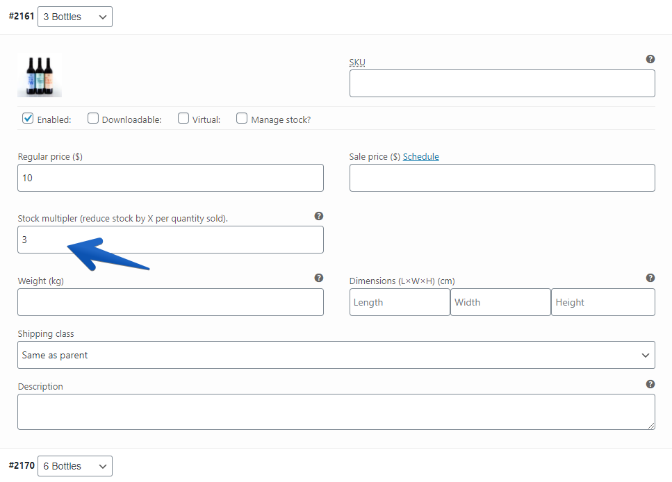Screenshot of product variation multiplier settings in WooCommerce.