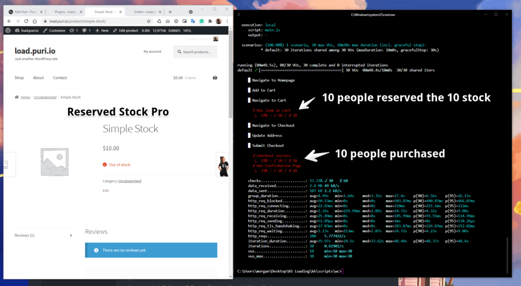 Screenshot of loading testing a WooCommerce store and reservating stock in cart using the Reserved Stock Pro plugin