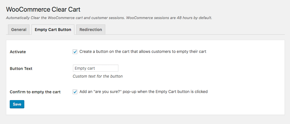 Add empty cart button for WooCommerce cart