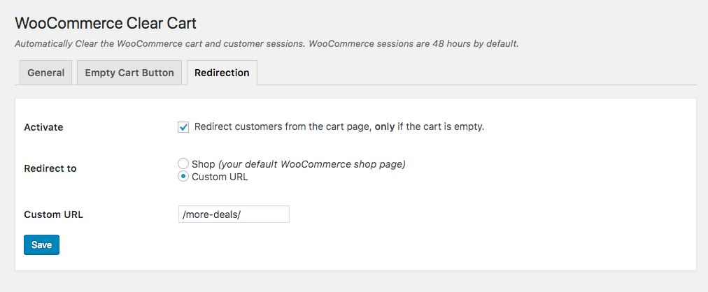 WooCommerce redirect when cart is empty