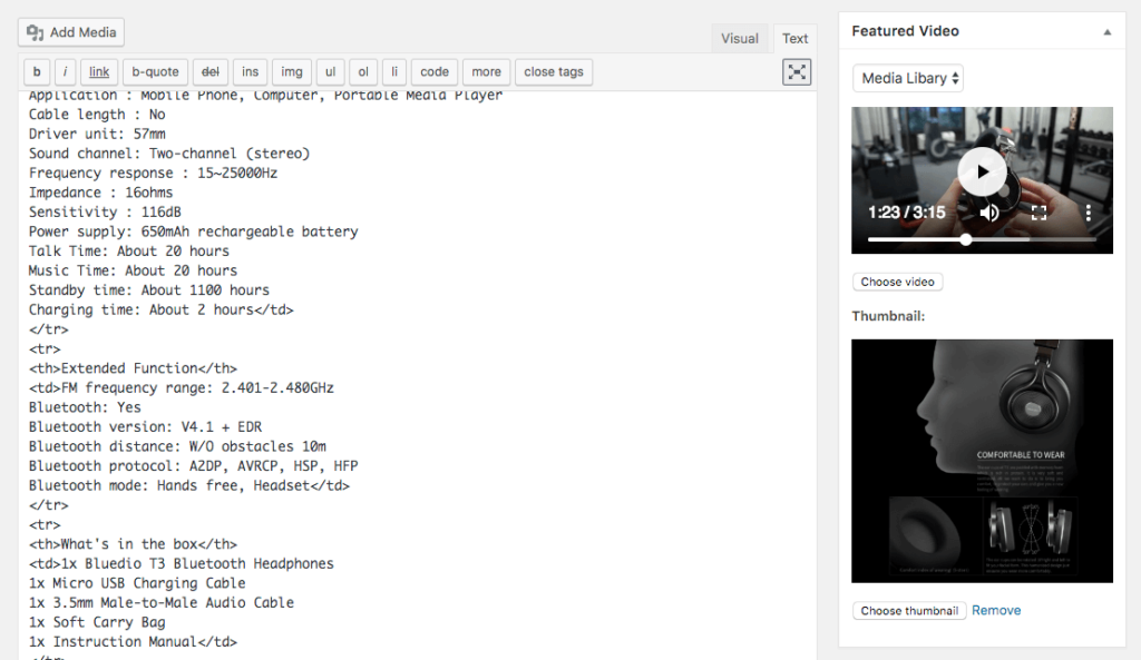 how to use video for featured video WooCommerce