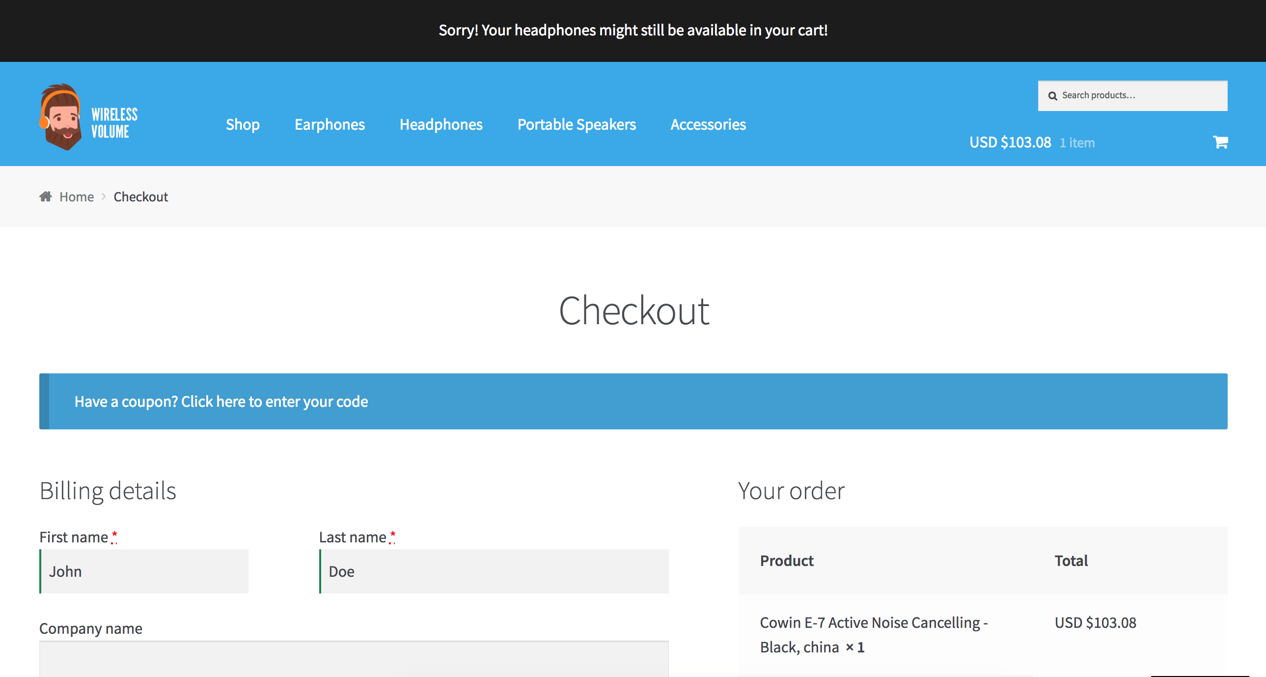 WooCommerce clear cart and expiry message