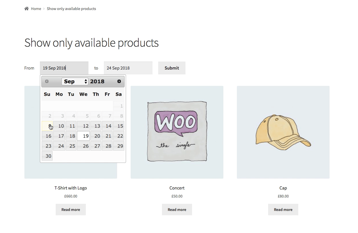 Woocommerce Bookings search for available date first