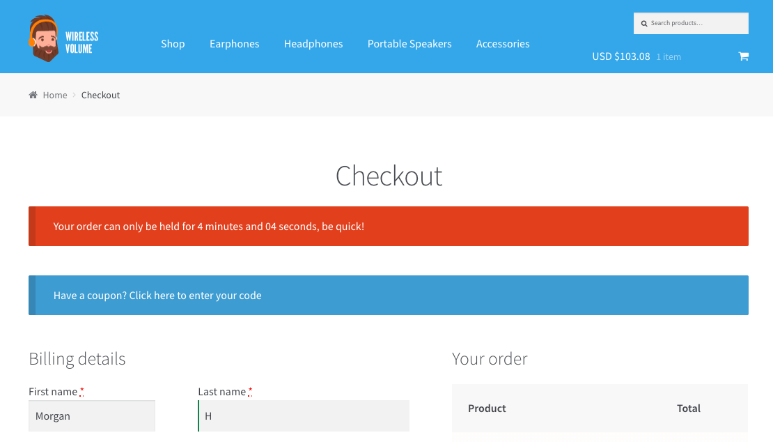 checkout countdown native woocommerce notices