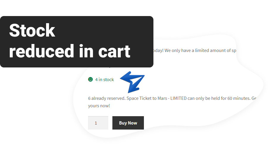 Screenshot of stock redcuded in the WooCommerce cart